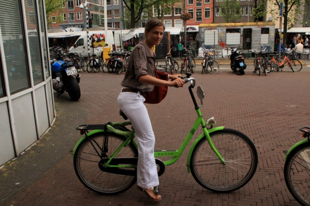 On a very silly green bike