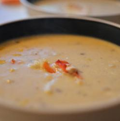 Corn crab bisque for Sunday dinner. Used half the amount of butter; next time I'll try to get a creamier texture